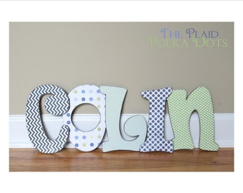 Custom Distressed Wooden Letters for girls or boys - Blues and Greens or Custom made to match your decor