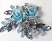 Vintage Molded Glass Rhinestone Blue Plastic Flower Brooch Pin  Beau Jewels