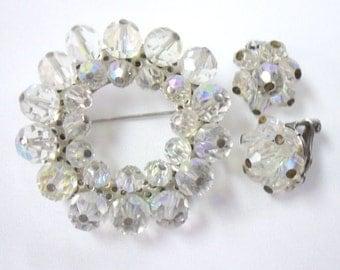 Vintage Crystal Beaded Circle Brooch and Earring Set