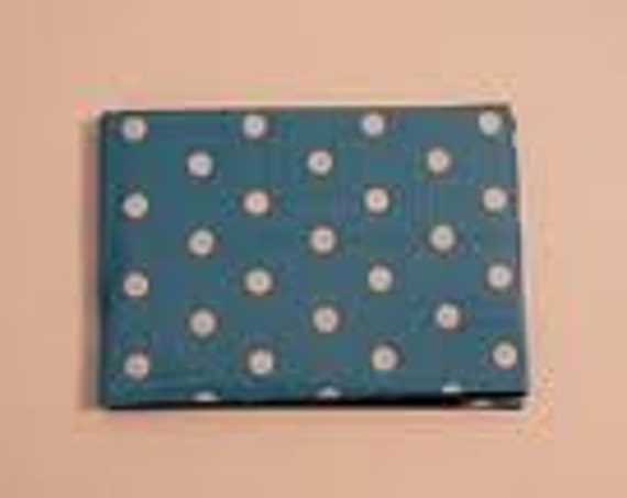 blue white polka dotted duct tape wallet