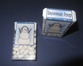 CHRISTMAS SNOWMAN POOP,candy,tic tacs,labels,stickers,kids,favors,stocking stuffers
