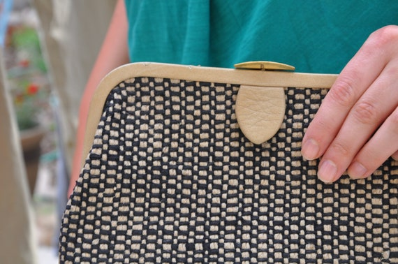 In the Clutch: Vintage Tan and Black Woven Clutch