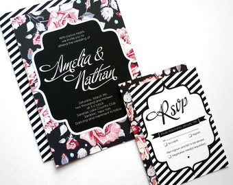 Wedding Invitations with a Floral Stripe Motif and Modern Script (Sample Set)