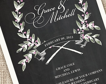 Rustic Modern Wedding Invitations with a Chalkboard Texture (Sample Set)
