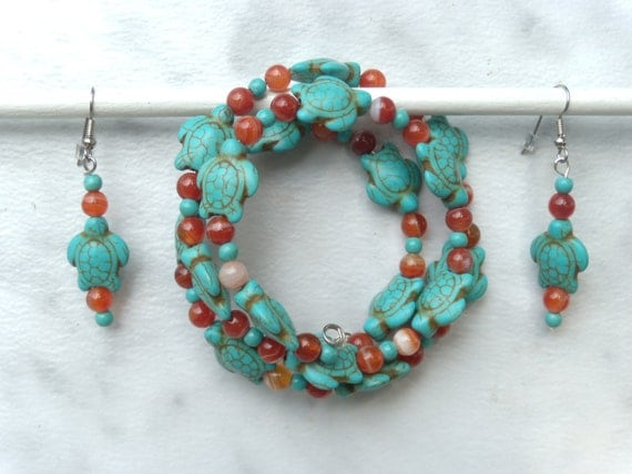 Turquoise, howlite turtles and red striped agate bracelet and earrings set