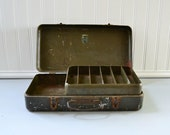 Vintage Metal Tool Box - Olive Green Storage Organzier - My Buddy