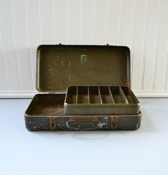 Vintage Metal Tool Box - Olive Green Storage Organzier - My Buddy