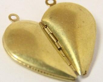 6pairs of 12 pcs of half heart locket-30X28mm-BL3025-raw brass
