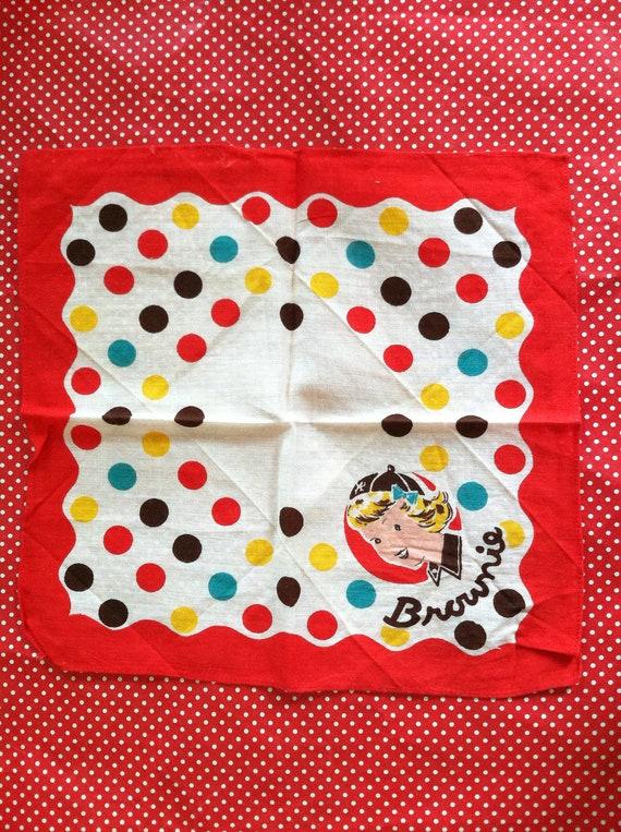 Vintage 1940s Brownie Girl Scout Handkerchief
