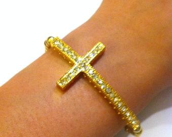 Gold Rhinestone Sideways Cross Bracelet
