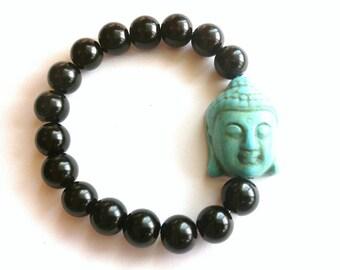 Turquoise Buddha Black Beaded Bracelet