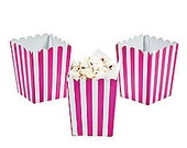 12 Mini Hot Pink and White striped popcorn boxes treat favors