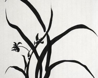 Chinese Calligraphy, Ink Painting, Japanese Painting, Simplicity 1, Orchid, Wall Art, Meditative Art, Zen Art