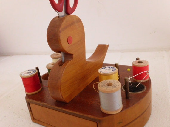Vintage sewing bird thread scissor holder pincushion organizer