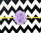 Shabby Chic Purple Lavender Flower on Yellow Gold Skinny Elastic Headband - Halloween -  Birthday - Baby - Girls - Toddler - Infant