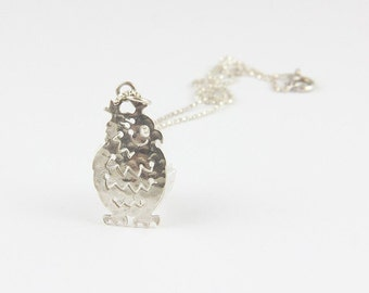 Handmade sterling silver owl pendant