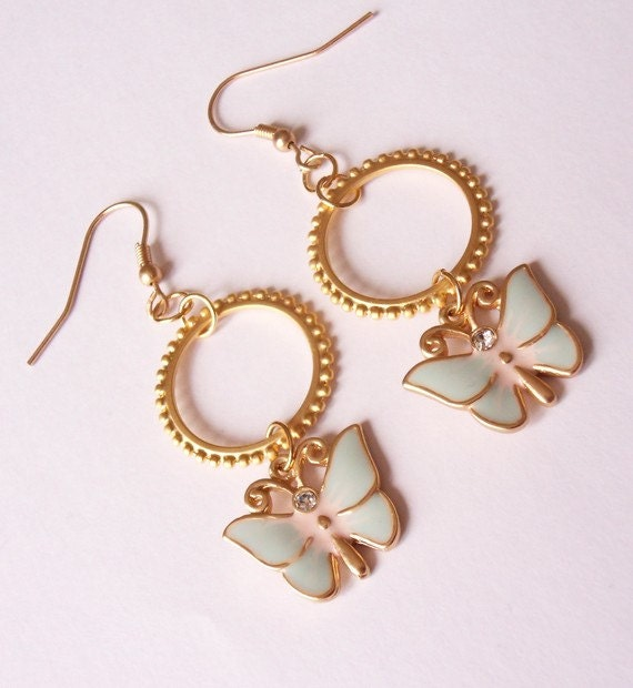 small hoop earrings - dangling earrings - butterfly earrings - gold hoop earrings - ohrringe