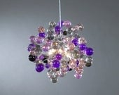 Ceiling Light Fixture, Purple shade color bubbles for children room, girl room or dinning table.