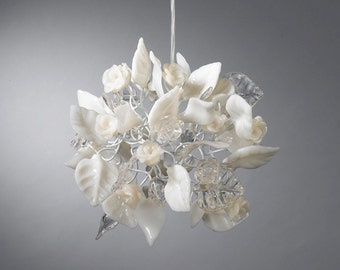 Ceiling Chandelier with clear and white flowers and leaves for hall, bathroom or as a bedside lamp..