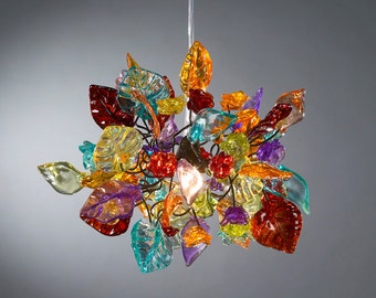 Colorful Ceiling Pendant light with flowers and leaves - Decorative Light for Bedroom, hall and bedside light.