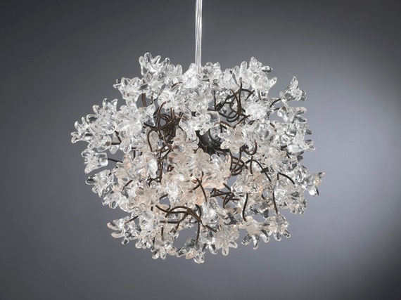 Hanging light with Transparent flowers Pendent Lighting for Office & Living room or as a bedside lamp.