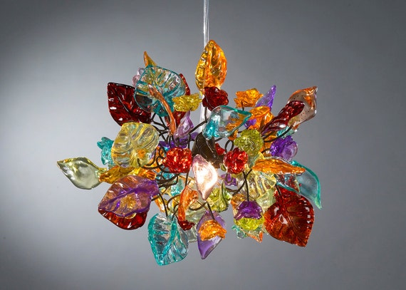 Colorful Ceiling Lamp with flowers and leaves - Decorative Light for Bedroom, hall and bedside light.