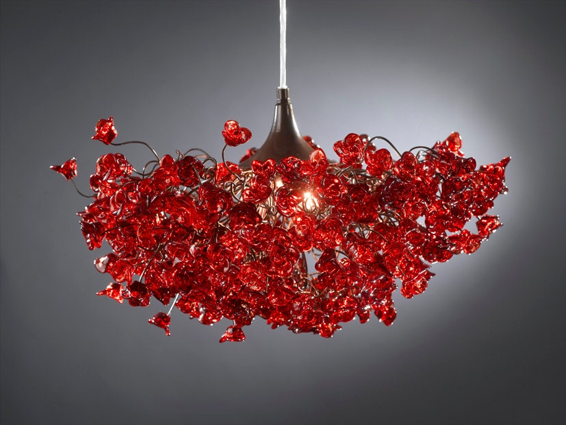 Romantic Chandeliers with Red roses flowers for living room – Rose Chandelier