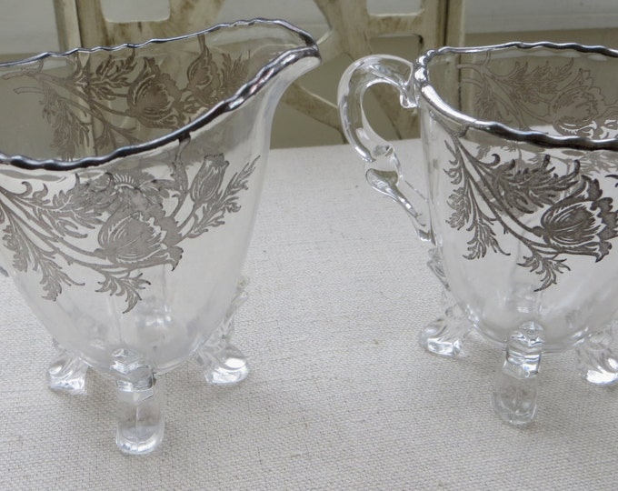 Antique Sugar and Creamer Footed Sterling Overlay Elegant Table Afternoon Tea