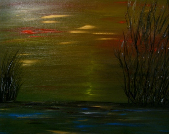 Dark Mysterious Island - Abstract Oil Painting