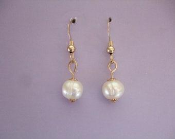 Freshwater Pearl Earrings, Drop Dangle Earrings, 14ct Gold Filled, 14kt Rolled Gold, Jewelry, UK Seller