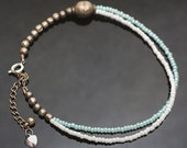 Silver, white and aqua blue beaded anklet