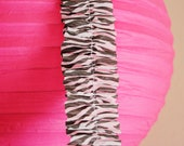 Zebra Print Ruffled Crepe Paper PartyStreamer - 20 feet - Birthday, Wedding, Backdrop, Decoration, Bachelorette, Jungle