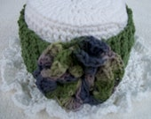 Hat  Spare  Toilet  Paper  Cover White with green band and purple green multi flower