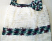Hobo style crochet Bag reusable market, grocery or beach bag white with purple teal green lavender trim 100% cotton washable yarn
