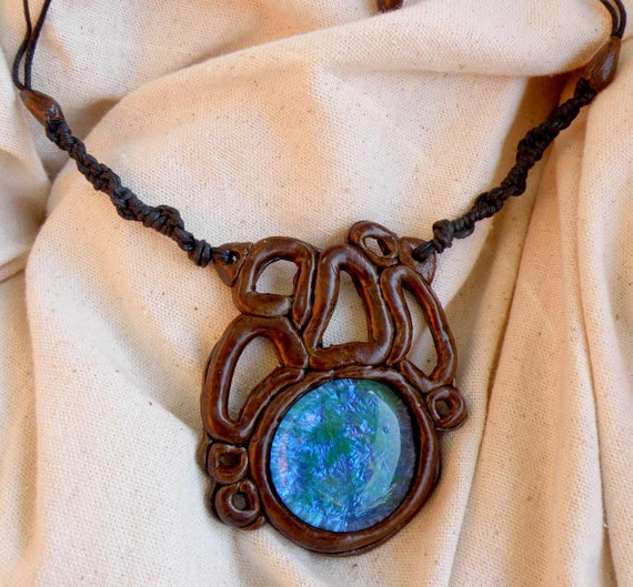 Blue Brown Necklace Large Glass Gem Psychedelic Floroscent Organic Psy Goa Hippie Tribal Clay Artpiece Free Shipping