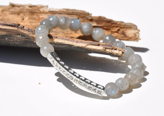 Intuition and Imagination - Faceted Labradorite Gemstone beaded bracelet - Silver Pave Rhinestone Bar Bracelet