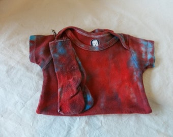 Hand Dyed Red and Blue Onesie with Socks 6-9 Mo