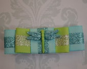 Light blue and sage green hair bow with shimmering dragonfly