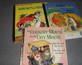 Set of Three Little Golden  Books for Children