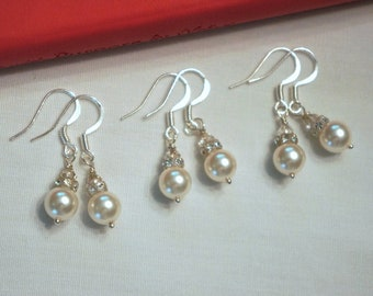 3 Sets Pearl Bridesmaid Earrings, Earring Set, Swarovski Pearl White Earrings - Wedding Jewelry