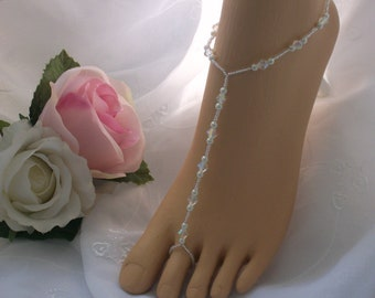 Pearl & Crystal Barefoot Sandal - Bridal Foot Jewelry - Beach Wedding Jewelry