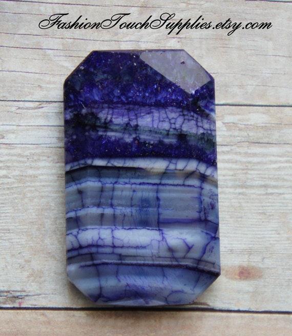 Bead, precious, gemstone, natural, stone, nugget Ink Purple Agate Rectangle Focal Pendant Bead fg005