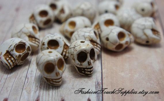 White Skull Beads, Bead, precious, gemstone, natural, stone, nugget Howlite Skull Beads, Large, 18x17mm count 6