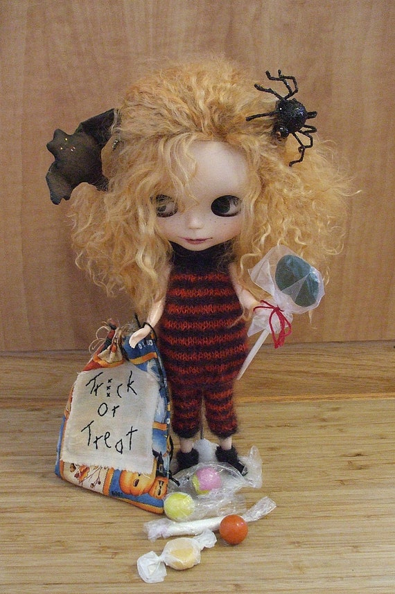 Blythe  Knit Black and Flame Halloween Costume and Matching Leggings