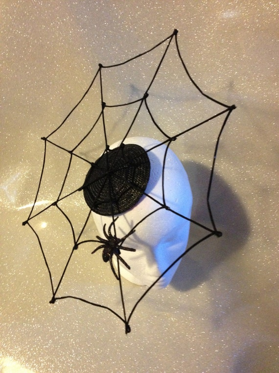 Black Satin Spiderweb Fascinator - Perfect for Halloween Costume
