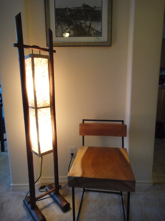 Rustic Modern handmade Bamboo wood 3 lights Floor lamp - Very natural look