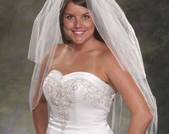 Elbow Length Wedding Veil 36 Inch Pencil Edge Bridal Veil Plain Cut Blusher Veil 24 Inch 2 Tier Wedding Veils Ivory Veil White Tulle Veils
