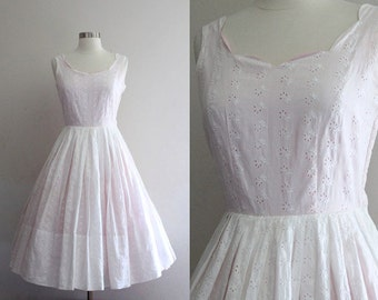 1950s Eyelet Dress Vintage 50s White And Pink Cotton