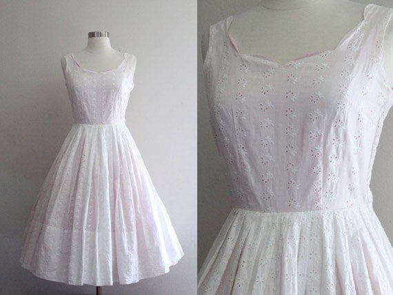 1950s eyelet dress vintage 50s white and pink cotton floral for White cotton eyelet wedding dress