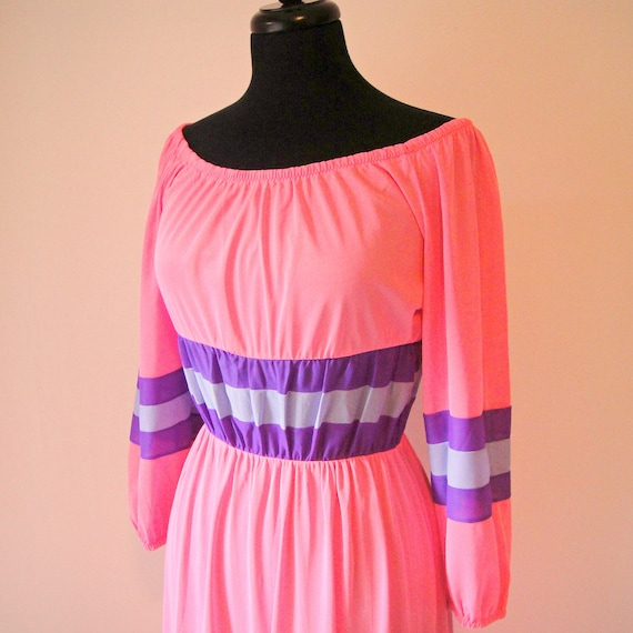 Vintage. 70's. Bright Pink / Purple Stripes Boho Sheer Maxi Dress. Nightgown. Beach Coverup. Off Shoulder. Retro. S/M